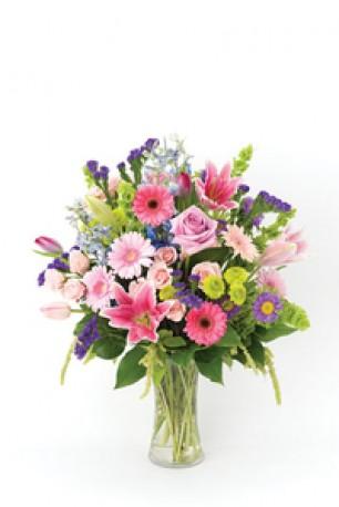 Vibrant Handtied in Vase