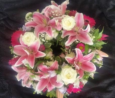 Wreath - Pink & White