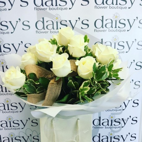 Handtied - 6, 12 or 24 White Roses