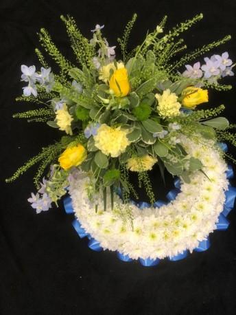 Blue & Yellow Massed Wreath