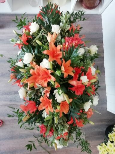 Casket Spray - Orange Lillies & White Roses
