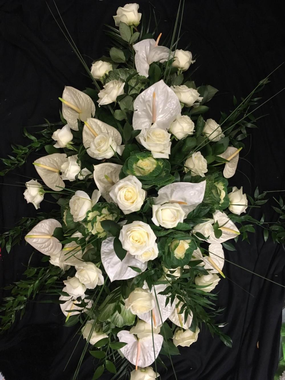Coffin Spray - White Rose & Anthuriums