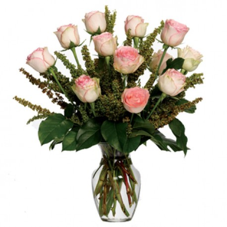 White & Pink Roses in a Vase