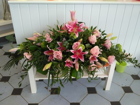 Pink Lilly & Rose Coffin Spray