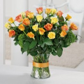 24 Orange & Yellow Roses