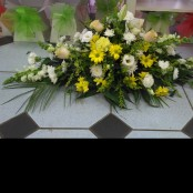 Casket Spray - Yellow, Orange & White