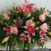 Pink Lilly & Rose Coffin Spray