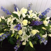 Blue & White Coffin Spray