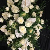 Coffin Spray - White Rose & Anthuriums