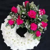 Cerise Rose Massed Wreath