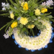 Blue & Yellow Massed Wreath