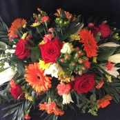 Casket Spray - Red, Orange & Yellow